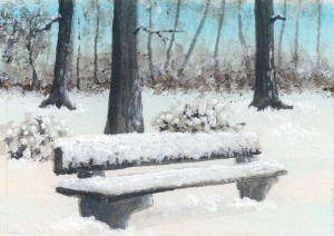 forest in winter with a snow covered bench