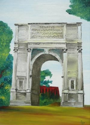 Ölgemälde vom Titusbogen in Rom von Rainer Hillebrand