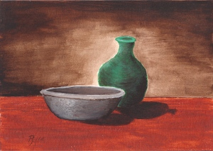 still life painting of a bowl and bottle