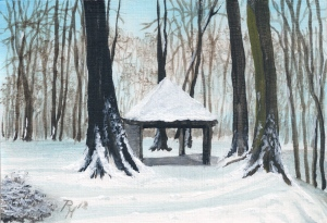 a shelter in the woods in winter