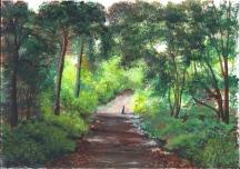 Gemälde eines Waldweges von Rainer Hillebrand