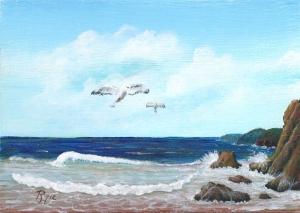 apinting of seagulls