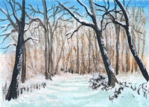 painting of a path in a winter forest