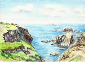 Zeichung der Felsen nahe Lands End in Cornwall von Rainer Hillebrand