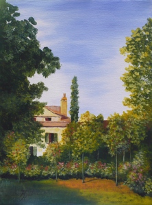 acrylic painting of a garden after a painting by Monet