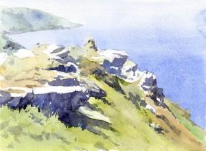 Devon Rocks watercolour by John Somerscales