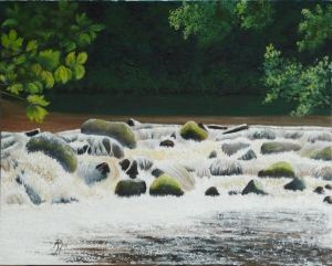 painting of Fingle Bridge Waterfall