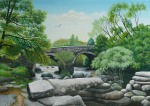acrylic painting of Dartmeet bridge by Pat Harrison