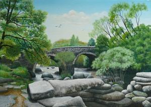 acrylic painting of Dartmeet bridge by Pat Harrison