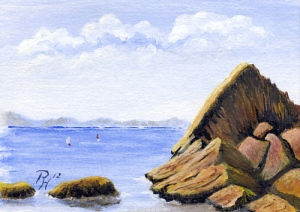 acrylic painting of rocks at Meadfoot Bay