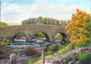 Dartmoor landscape painting of Postbridge