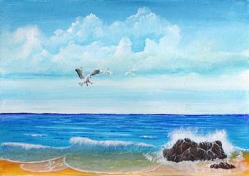Möven am Meer gemalt von Rainer Hillebrand