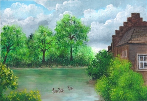 painting of geese in a castle moat