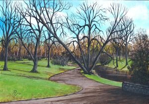 acrylic painting of a park in early spring