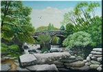 Dartmeet bridges painted by landscape painter Pat Harrison