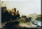 painting of a castle by the river by Peter Kempf