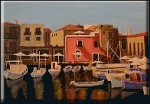 painting of a Mediterranean Harbour by Waltraud Reintjes