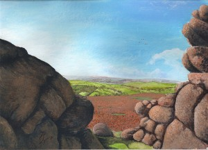 acrylic painting of Dartmoor landscape