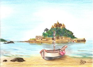 drawing of St.Michaels  Mount, Cornwall