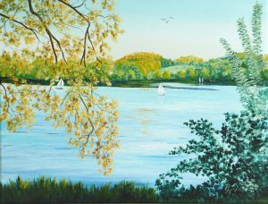 acrylic painting of lake with boats