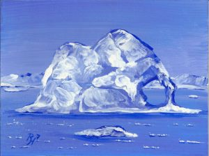 acrylic painting of an iceberg
