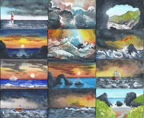Miniaturgemälde mit Küstenlandschaften von Rainer Hillebrand