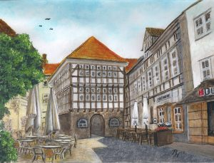 painting of an old town hall