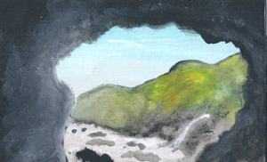 miniature painting of a cave