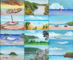 miniature paintings of the seaside