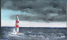 Miniatur Acrylgemälde eines Leuchtturms von Rainer Hillebrand