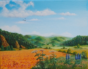 Hills in the summer acrylic painting
