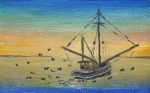 painting of a fishing vessel at sundown