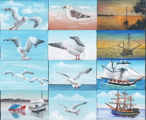 paintings of seagulls