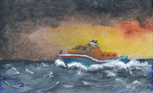miniature painting of a lifeboat