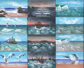 Miniaturgemälde mit Küstenansichten von Rainer Hillebrand