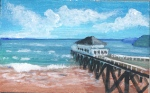 painting of a pier at low tide