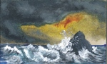 acrylic painting of a rock in rough seas