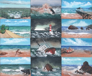 Acrylic miniature paintings of shipwrecks