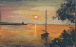 painting of a boat at sundown