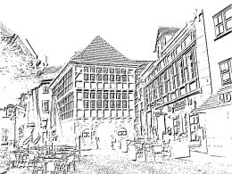 Hattingen old town hall in black and white