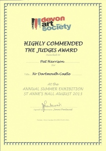 award issued by the Devon Art Society