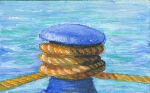 acrylic painting of a bollard and rope