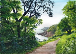 award winning painting of the coast near Dartmouth Castle