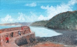 painting of Clovelly harbour wall