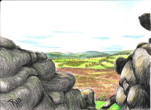 drawing in coloured pencil of Hound Tor
