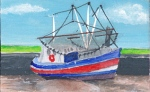 painting of a fishing boat