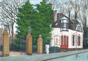 painting of a gatekeeper´s house by Pat Harrison