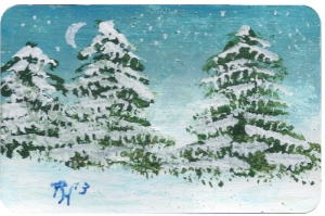 painting of fir trees by Pat Harrison