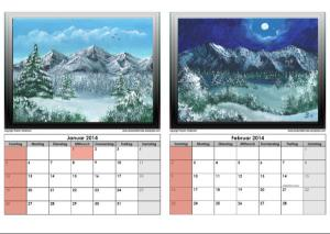 calendar painted by Pat Harrison