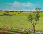 painting of fields by artist Pat Harrison